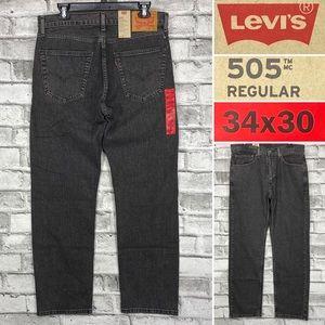 NWT Levis 505 Sz 34 x 30 Straight Gray Denim Jean